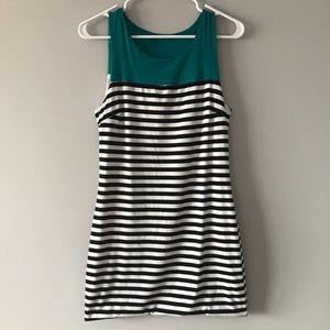 Soprano M Black & White Striped Bubble Hem Dress